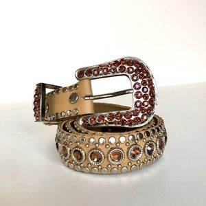 Kippy's Tan Leather Crystal Belt Vintage 32